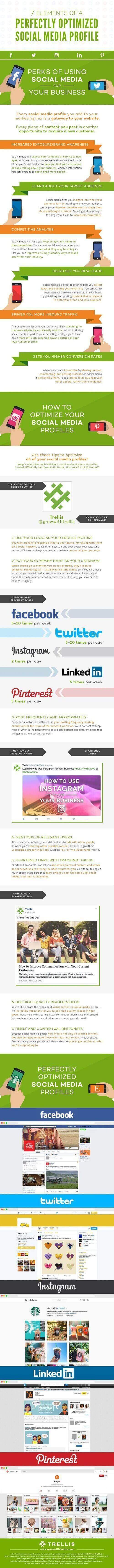 7 elementos clave para optimizar tus perfiles sociales #infografia