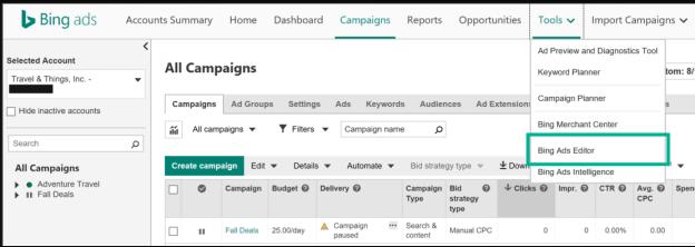 campañas de Bing Ads