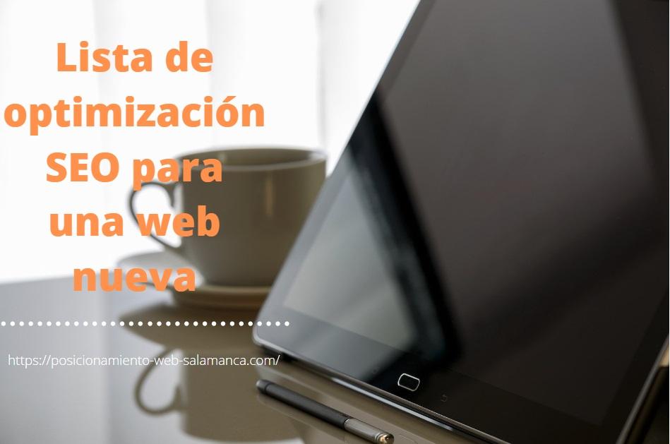 Lista de optimización SEO para una web nueva